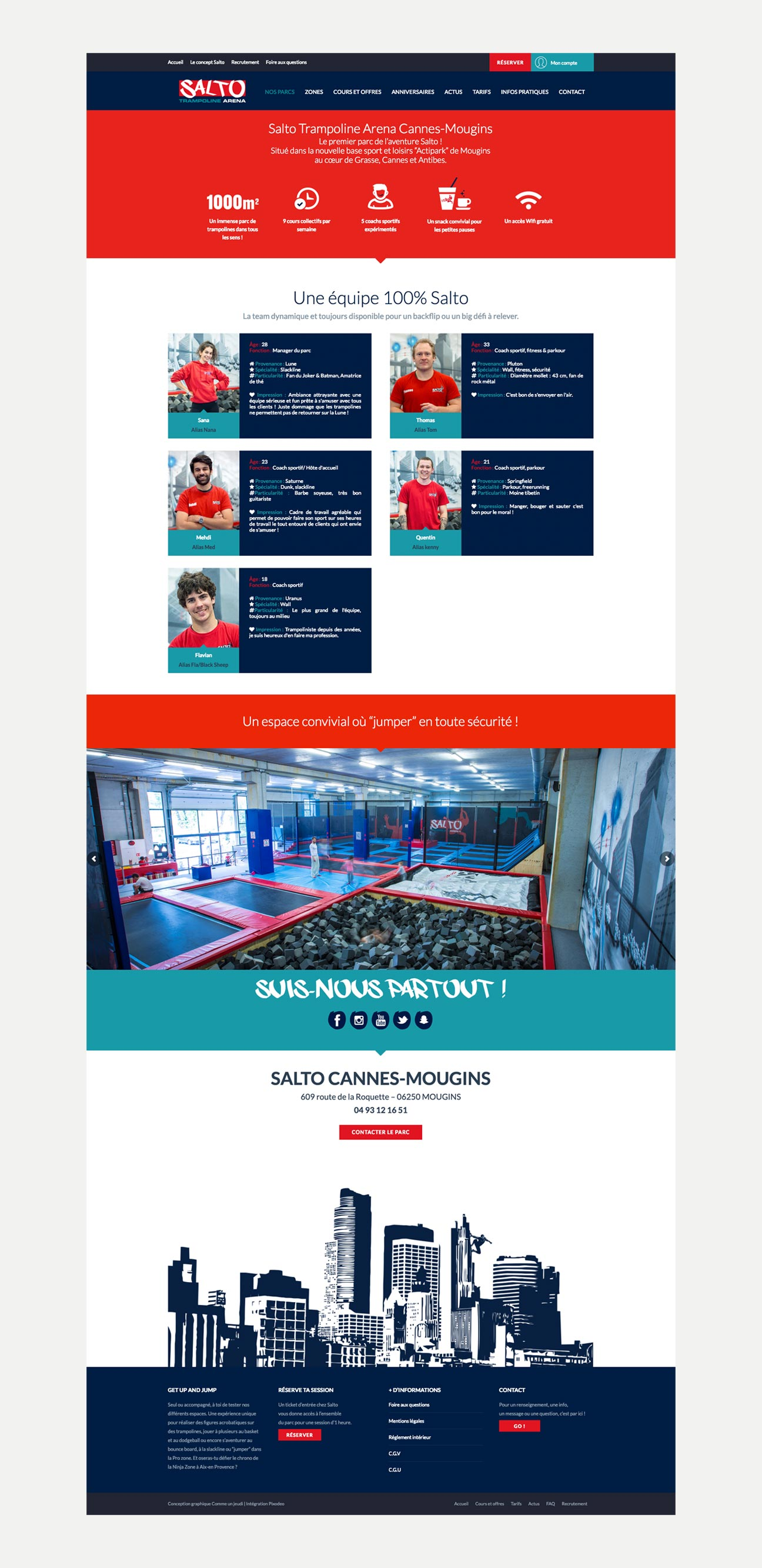 Conception site web Salto Trampoline Arena Mougins