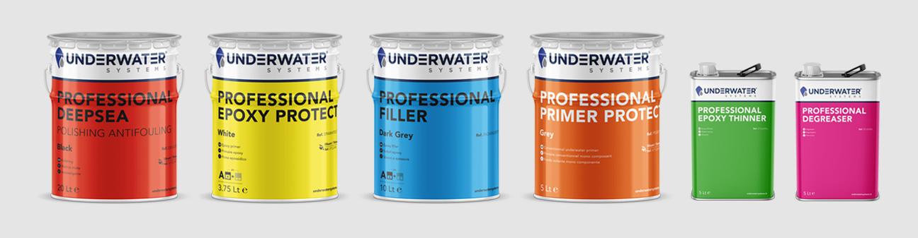 Gamme complète étiquettes pots peinture Underwater Systems